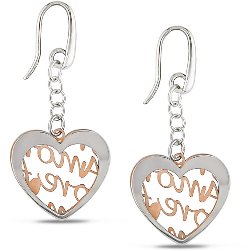 Heart Amore 2-Tone Italian Sterling Silver Earrings