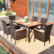 Gymax 7pcs Patio Rattan Dining Set 6 Stackable Cushioned Chairs Patio