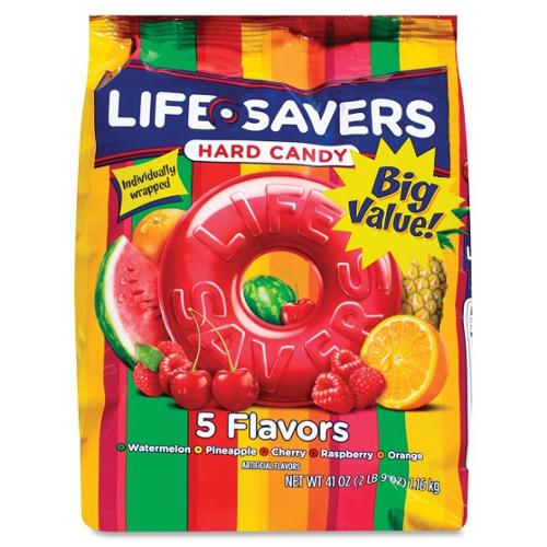 Life Savers 5 Flavors Hard Candies - Cherry, Raspberry, Watermelon, Orange, Pineapple - Individually Wrapped - 2.56 Lb - 1 Pack (MRS22732)