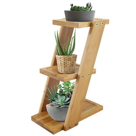 Walfront Plant Stand Shelf Small Flower Pots Holder Display Rack For Succulent Cactus 3 Tier Indoor Outdoor Desk Decor Bamboo