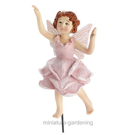 Georgetown Home & Garden Bettina, Pink Rose Fairy with Pick for Miniature Garden, Fairy Garden