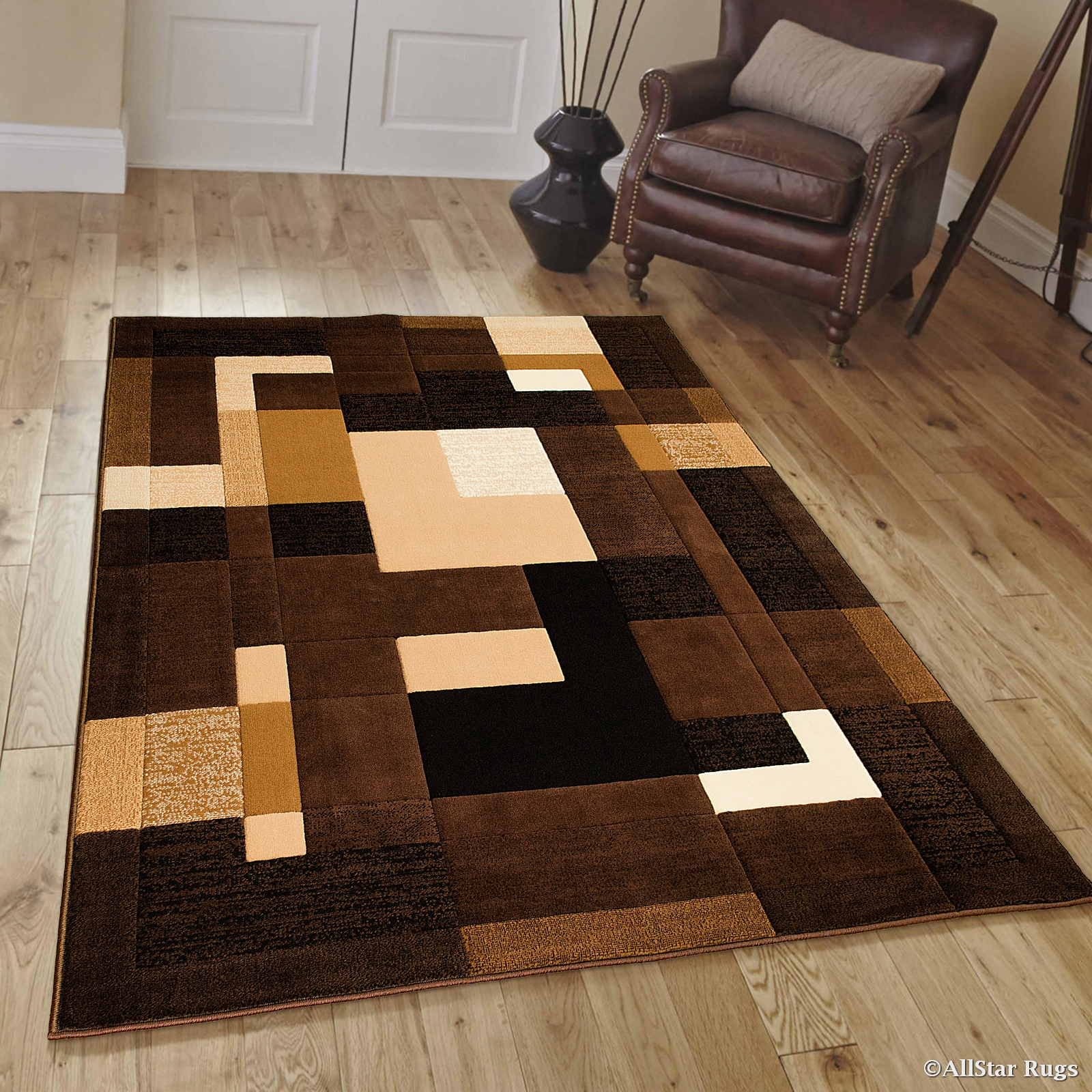 Click here to buy Allstar Brown Modern Contemporary Casual Brown Area Rug (7