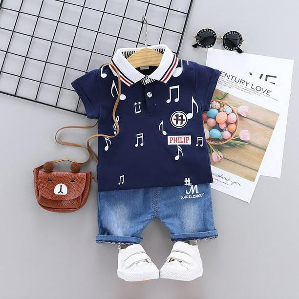 Details about  /Baby Boy 6-9Mos Infant Clothing 3PCS Outfit Set Poloshirt T-shirt Denim Shorts