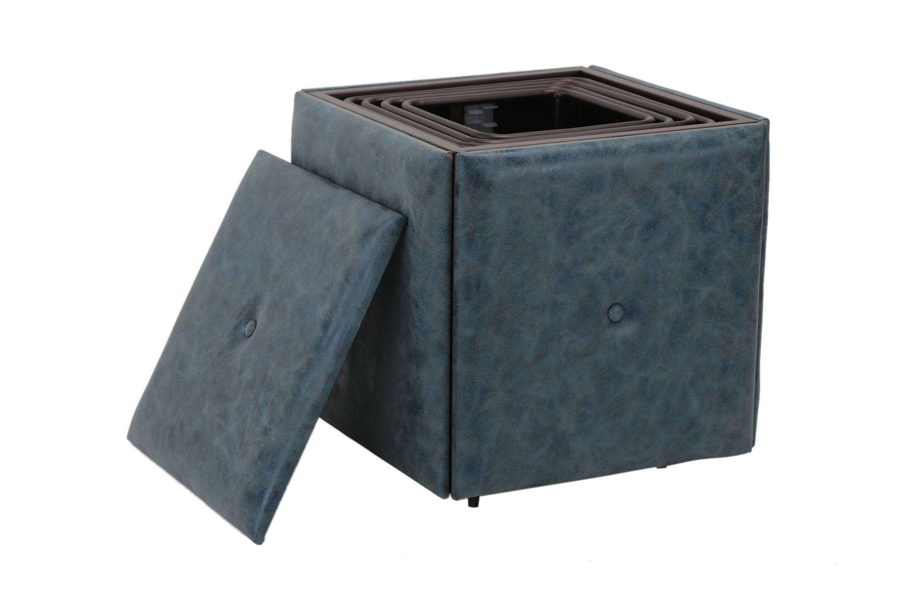5-Piece Nesting Ottoman Stool Set Faux Leather Cover Convertible Footstool by Nova Furniture Group