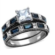 stainless steel sapphire blue and clear cubic zirconia wedding ring set 5 10 - Cubic Zirconia Wedding Rings