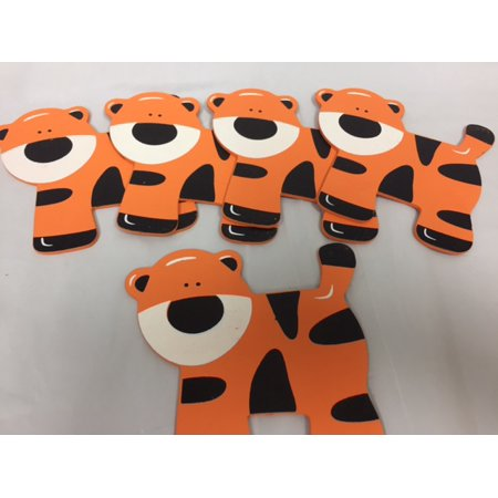 Charmed Wooden Animal Ornaments Tiger for Safari / Jungle Themed, Baby Room Decor, 5 Pieces](Safari Theme Decor)