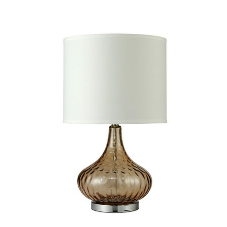 24 5 In Courtney Fluted Amber Glass Table Lamp Walmart Com