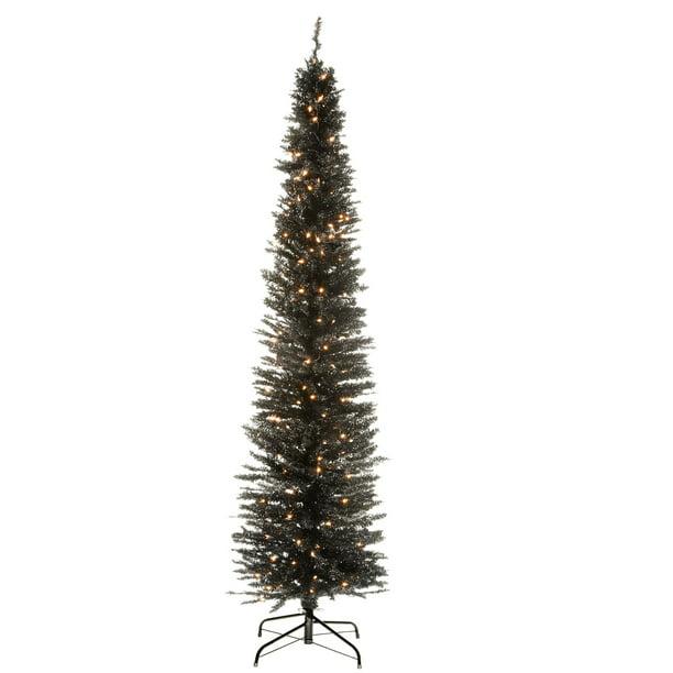 7' Pre-Lit Pencil Black Tinsel Artificial Christmas Tree ...
