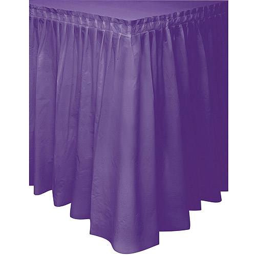 Plastic Table Skirt, 14 ft, Dark Purple, 1ct