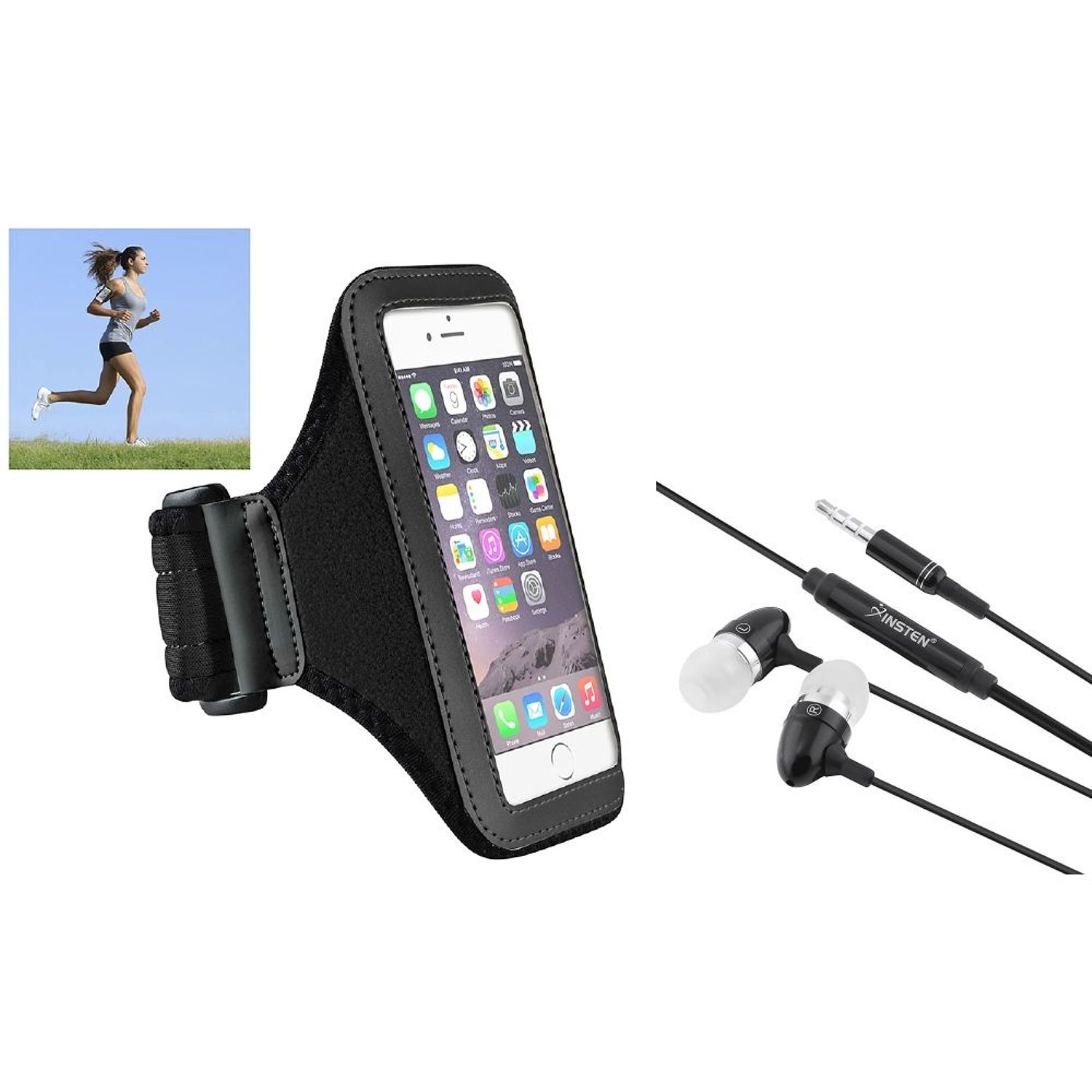 Armband Cell Phone Holder by Insten Black Sports Armband Case Phone Holder + 3.5mm Handsfree Headphone For iPhone 6 6S Workout