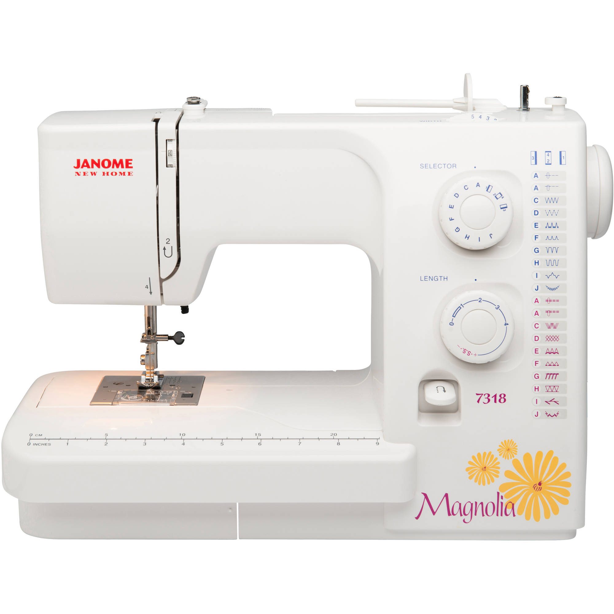 Janome 7318 Magnolia 18-Stitch One 4-Step Buttonhole Sewing Machine