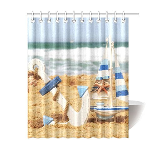 GCKG Tropical Summer Beach Shower Curtain Anchor Sailing Ship Sea Sand Polyester Fabric Bathroom Sets 60x72 Inches