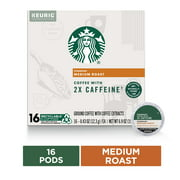 Starbucks Medium Roast Coffee K-Cups with 2X Caffeine | for Keurig Brewers | 16 K-Cup Pods