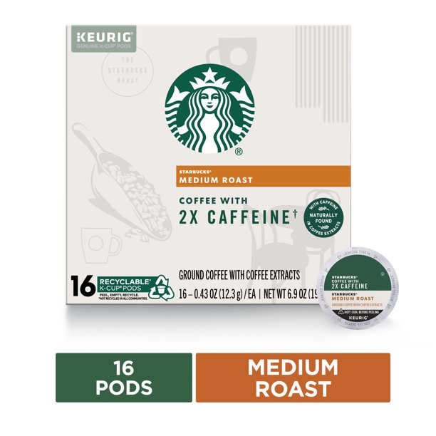 Starbucks Medium Roast K-Cup Coffee Pods with 2X Caffeine — for Keurig Brewers — 1 box (16 pods)