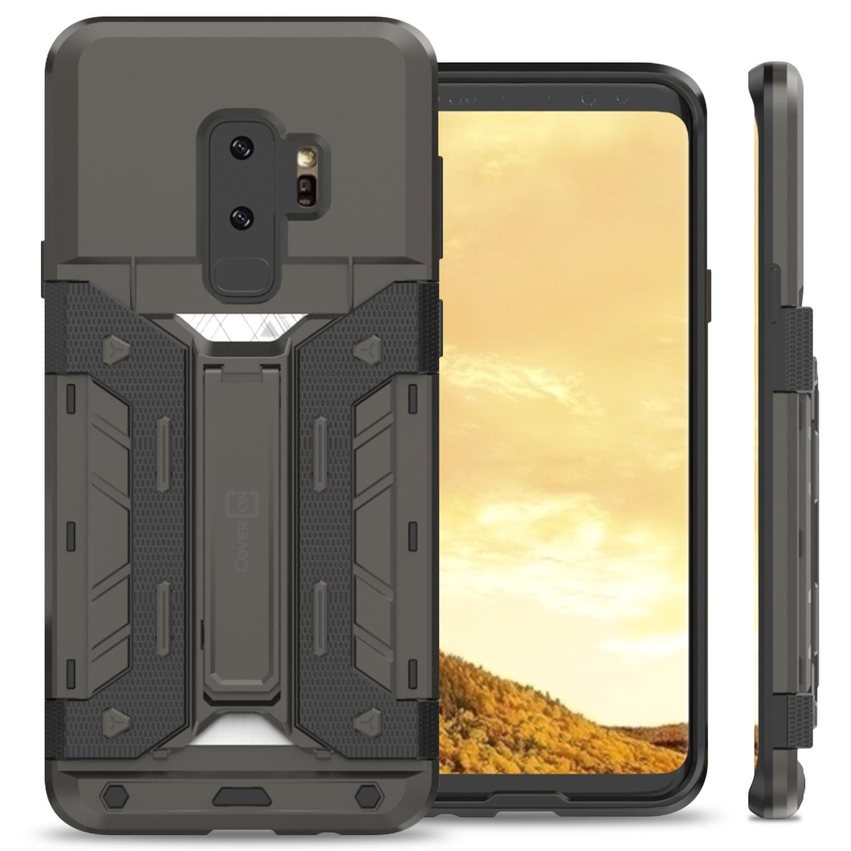 CoverON Samsung Galaxy S9 Plus Case, SlideCard Series Slim Protective Kickstand Phone Cover