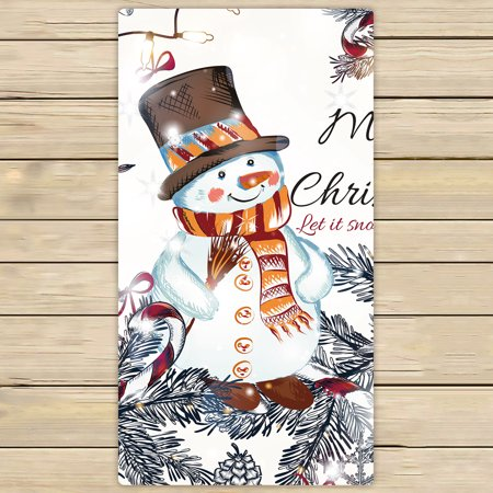 YKCG Christmas Snowman Snowflakes Happy New Year Hand Towel Beach Towels Bath Shower Towel Bath Wrap For Home Outdoor Travel Use 30x56
