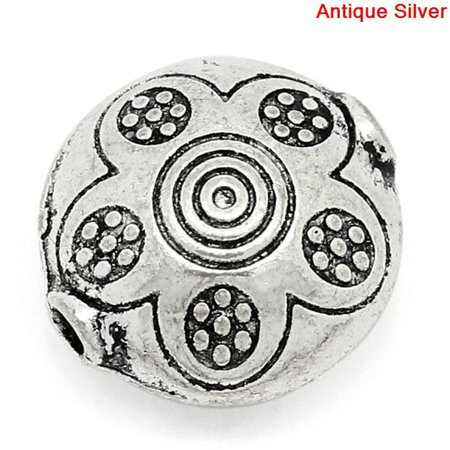 Sexy Sparkles 5 Pcs Round Spacer Beads Antique Silver Flower Pattern Carved 12mm