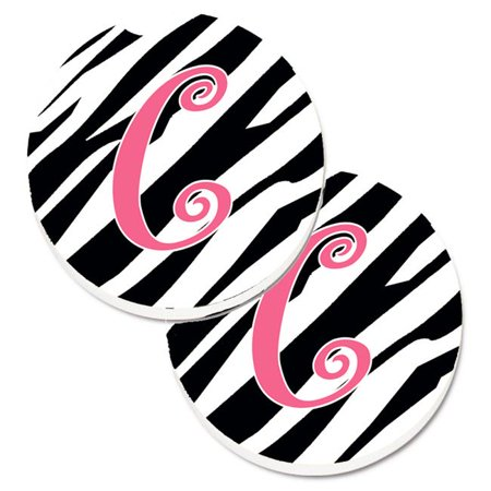 Carolines Treasures CJ1037-CCARC Monogram Initial C Zebra Stripe & Pink Set of 2 Cup Holder Car Coaster - image 1 de 1