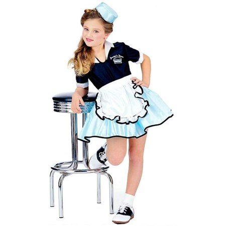 CAR HOP GIRL CHILD COSTUME SM, Car Hop Girl 50's costume includes a dress with apron, printed diner name on blouse and cap. By (50's Car Hop Waitress Costume)