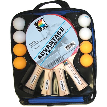 Advantage Indoor Table Tennis Bundle: 4 Player Set (4 Rackets/Paddles and 8 Balls), Kettler Advantage racket features a pips-in rubber blade,.., By Kettler from