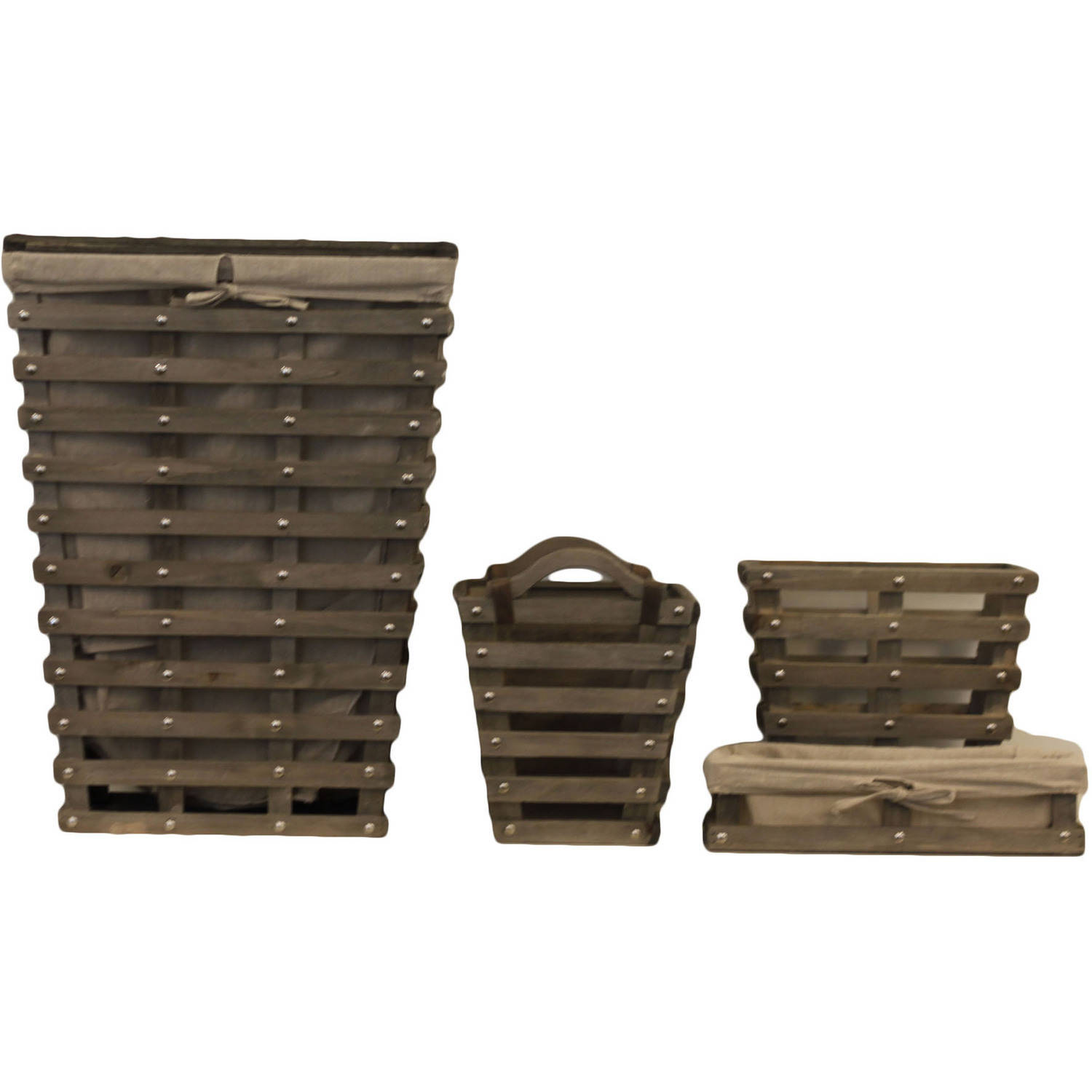 4-Piece Wood Slat Bath Set, Gray