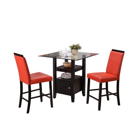 3 piece cappuccino wood glass square counter height kitchen dinette dining table 2 red 24. Black Bedroom Furniture Sets. Home Design Ideas