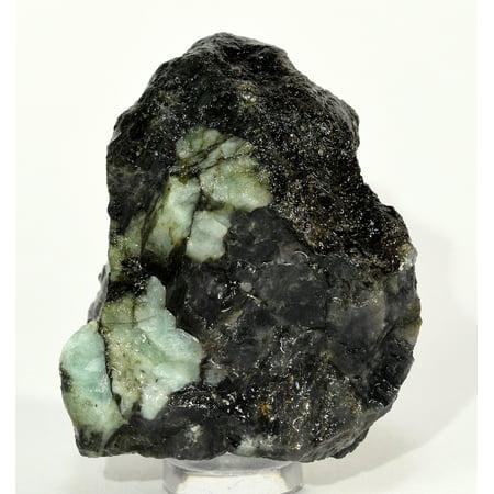 Specimen Brazil (400ct 51mm Natural Green Emerald Rough in Black Matrix Natural Gemstone Crystal Mineral Cabochon Rock Specimen Cab for Carving Cabbing -)