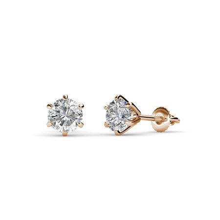 Diamond Six Prong Martini Solitaire Stud Earrings (SI2, G) 1.00 cttw in 14K Rose - Si2 Diamond Solitaire Earrings