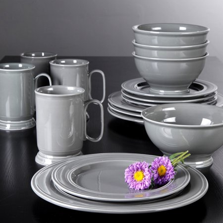 Better Homes And Gardens Admiraware 16 Piece Dinnerware Set Round Gray