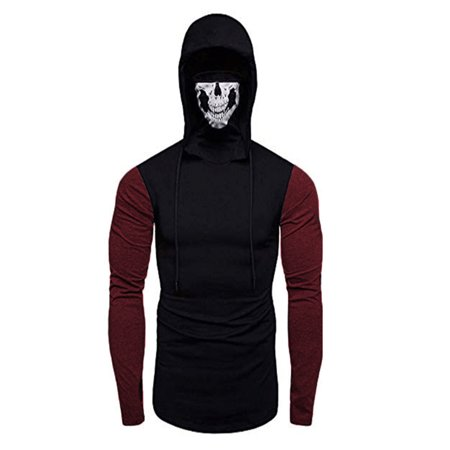 The Flash Hoodie With Mask (Winter Long Sleeve Casual Slim Fit Hoodie Sweatshirts Tops For Men Fashion Turtleneck Jumper Pullover Hoody Blouse Shirt With Mask Skull)
