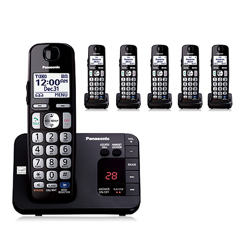 Panasonic KX-TGE236B DECT 6.0 Plus 1.9GHz 6 Handset Expandable Cordless Phone by Panasonic