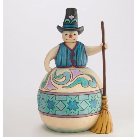 Hello Mr Snowman (Jim Shore Heartwood Creek Rolling By To Say Hello Snowman with Broom Figurine)