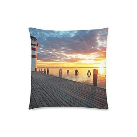 YUSDECOR Lighthouse at Lake Throw Pillowcase Pillow Cover Cushion Couver 18x18 inch - image 1 de 1