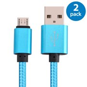 2x Afflux 6FT Micro USB Adaptive Fast Charging Cable Cord For Samsung Galaxy S3 S4 S6 S7 Edge Note 2 4 5 Grand Prime LG G3 G4 Stylo HTC M7 M8 M9 Desire 626 OnePlus 1 2 Nexus 5 6 Nokia Lumia Blue