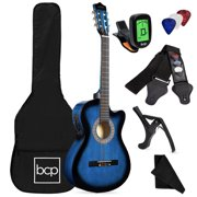 Best Choice Products Beginner Acoustic Electric Guitar Starter Set 38in w/ All Wood Cutaway Design, Case - Blue