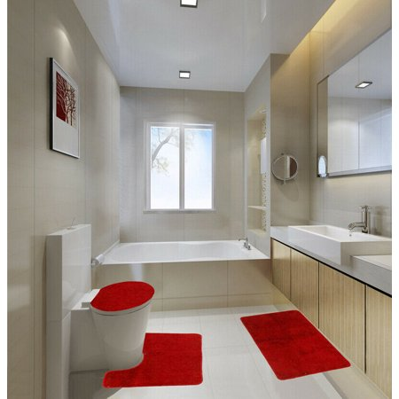 Astonishing 3 Piece Luxury Plush Red Soft Bathroom Bath Mat Set Extra Absorbent Solid Bath Rug 19X 30 Contour Rug 19X 19 And Toilet Lid Cover 19X 19 Anti Andrewgaddart Wooden Chair Designs For Living Room Andrewgaddartcom