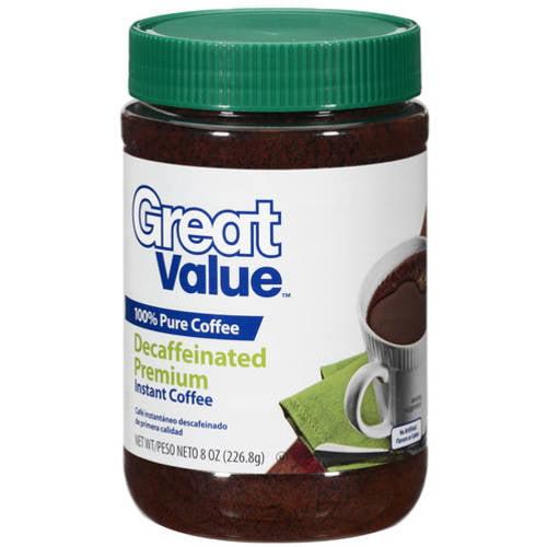 Great Value Decaffeinated Premium Instant Coffee, 8 Oz