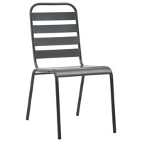HERCHR Stackable Outdoor Chairs 2 pcs Steel Gray