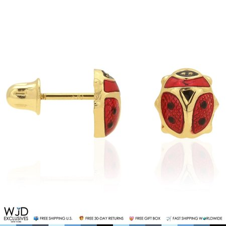 14K Solid Yellow Gold Red Enamel Small Ladybug Screw Back Stud Earrings 6mm