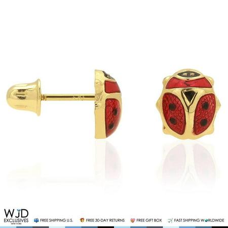 14K Solid Yellow Gold Red Enamel Small Ladybug Screw Back Stud Earrings 6mm](Yellow Lady Bug)