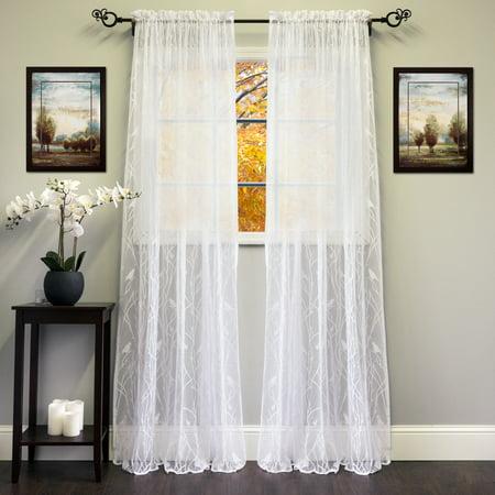 Birds Window Panel - Knit Lace Song Bird Motif Window Curtain Panel 56