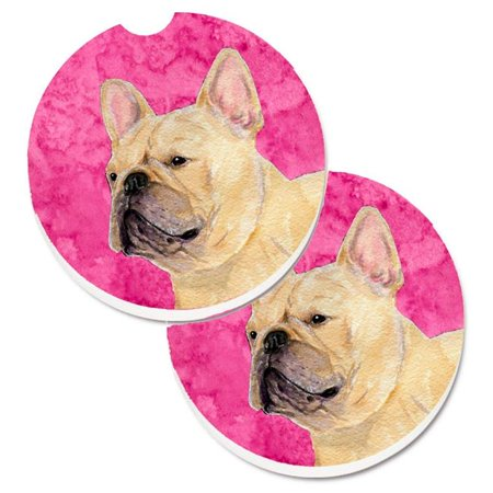 Pink French Bulldog Set of 2 Cup Holder Car Coaster - image 1 de 1