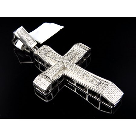 Sterling Silver Genuine Diamond Beveled Cross Finished In White Gold 2.75 Inches .50Ct