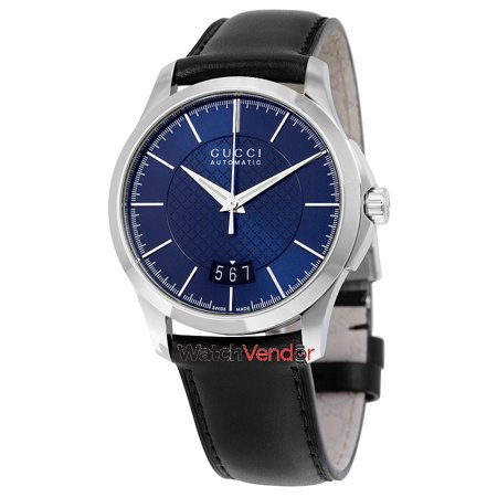 fb643d35678 Gucci G-Timeless Automatic Blue Dial Black Leather Men s Watch YA126443 -  image 3 ...