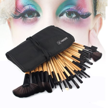 High End 32 Pcs Horse Hair Professional Makeup Brush Set with Pouch, (High Frequency Brush)