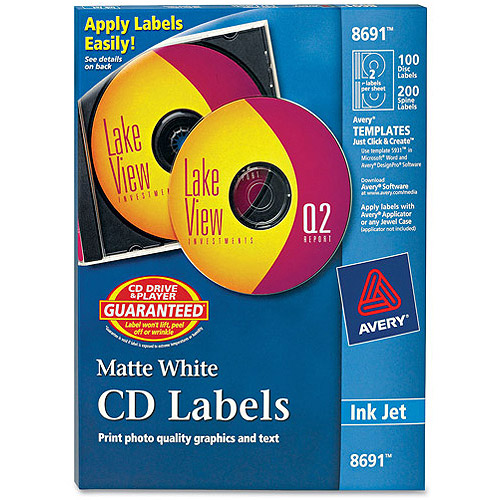 Avery 8691 Inkjet Matte White CD/DVD Labels, 100 Labels/Pack