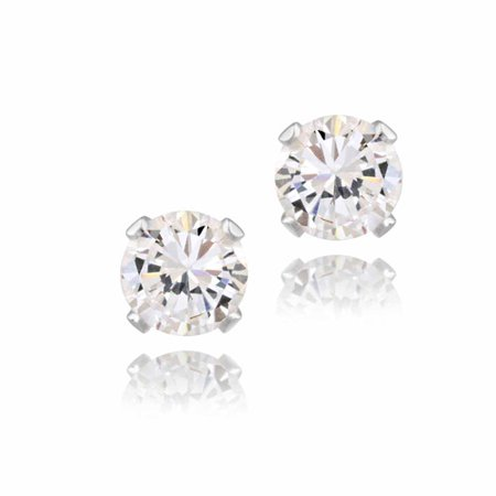 321ac28b16e6 iParis - 1 Carat T.G.W. CZ Stud Sterling Silver Earrings - Walmart.com