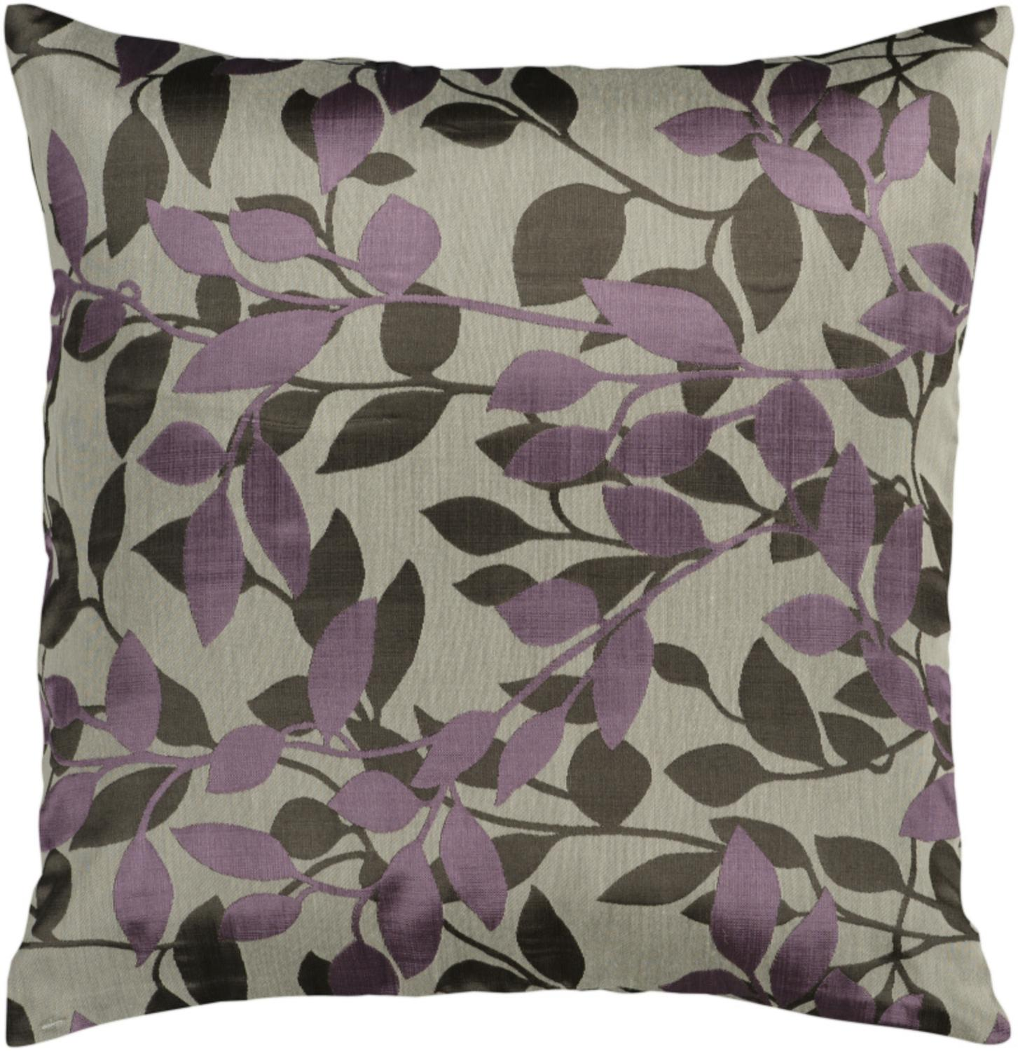 """22"""" Oyster Gray and Grape Early Morning Foliage Decorative Down Throw Pillow"""