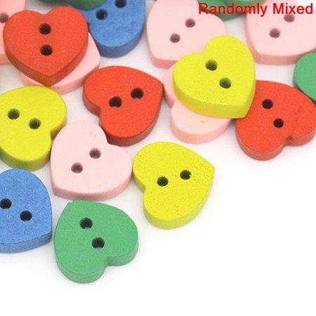Sexy Sparkles 20 Pcs, Multicolor Heart 2 Holes Wood Buttons 11mm
