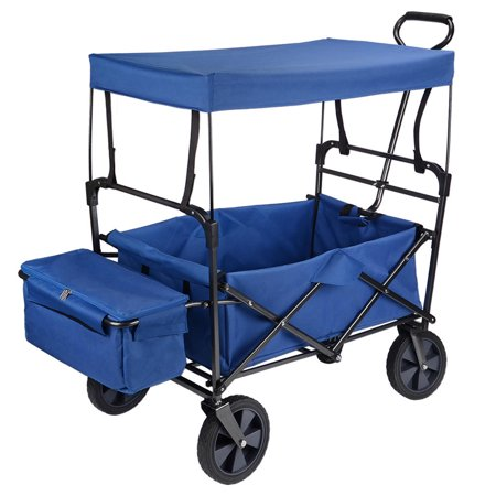 GreenWise Wheelbarrows, Collapsible Wagon Folding Utility Outdoor Garden Cart with Canopy,165lb Capacity (Blue) - image 1 of 6